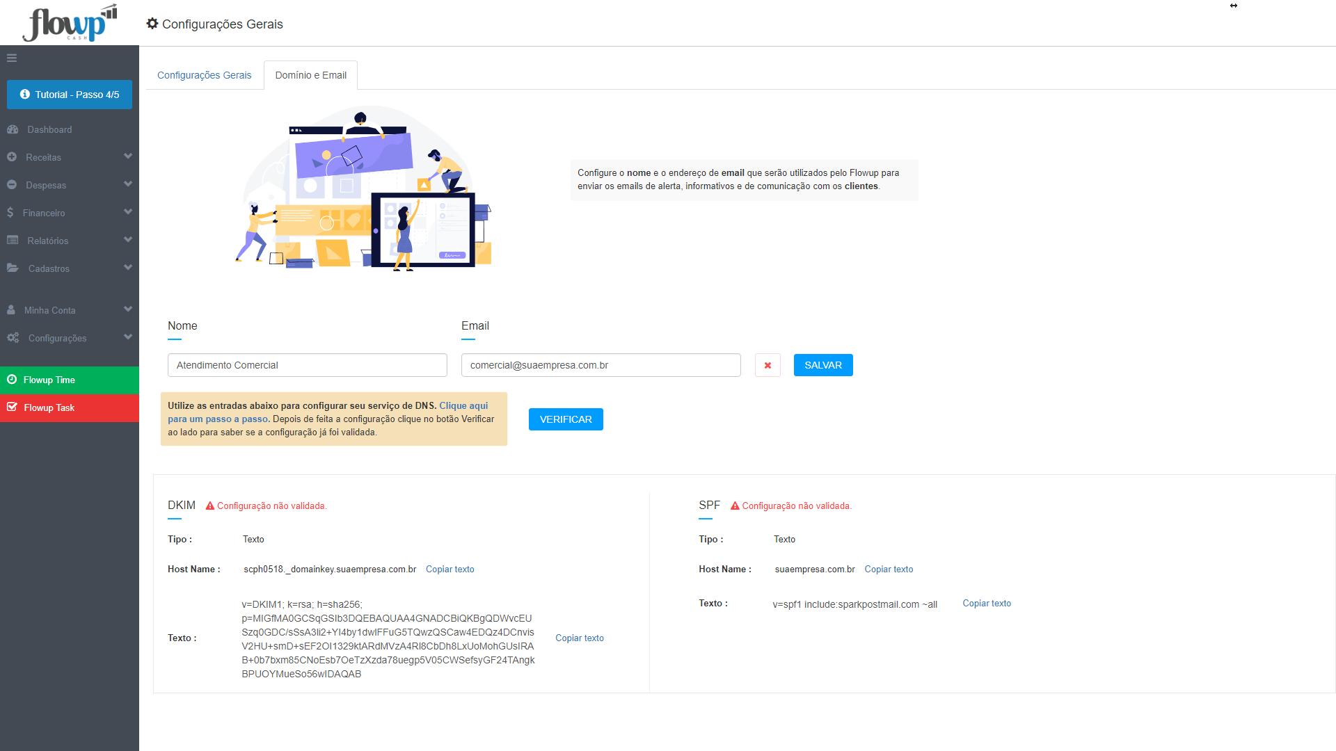 configuração email