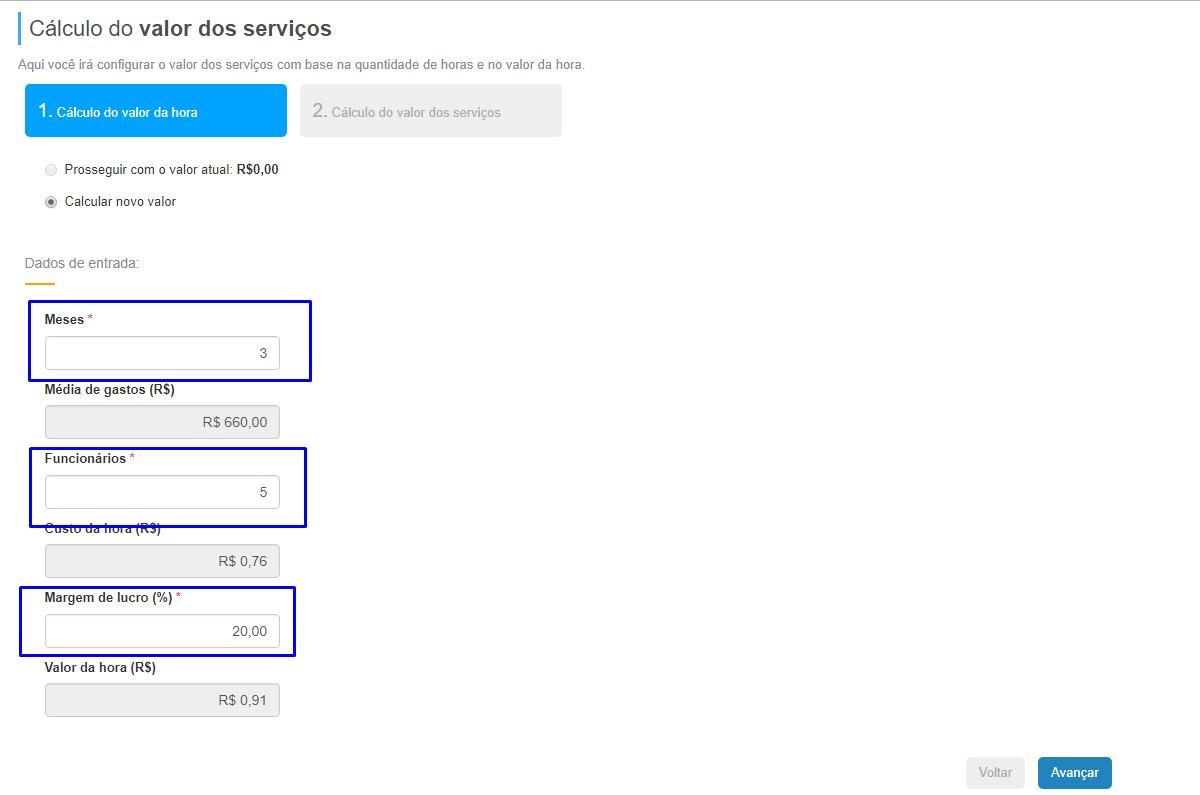 como calcular o valor dos serviços no Flowup