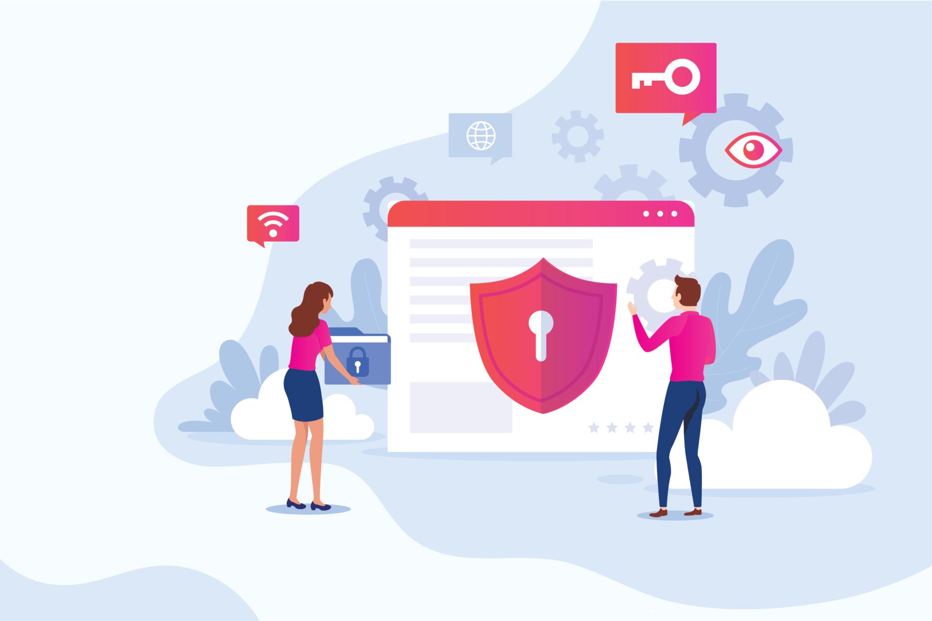 Lei geral de proteção de dados com personagens